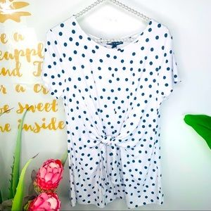Cable & Gauge Polka Dot Tie Front White Top (M)
